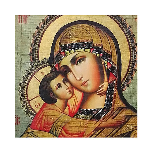 Russian icon Our Lady of Vladimir, painted and decoupaged 10x7 cm 2