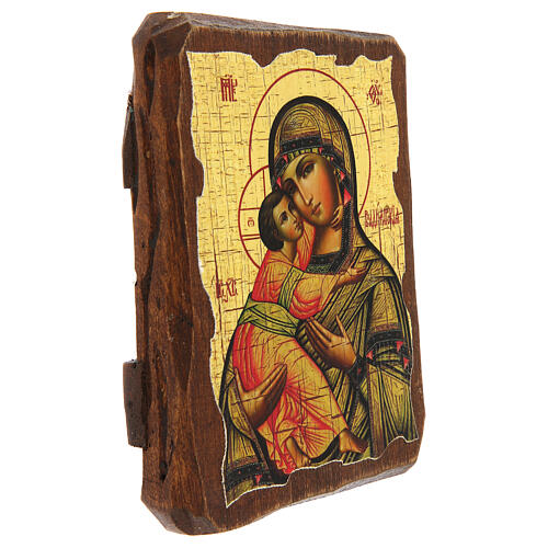 Russian icon Our Lady of Vladimir, painted and decoupaged 10x7 cm 3