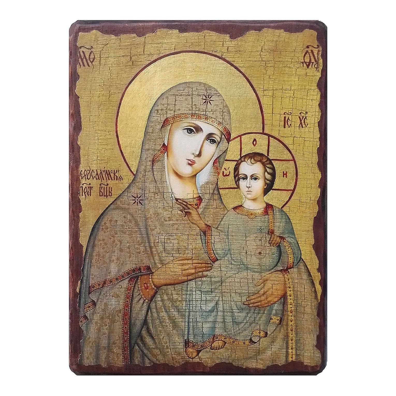 Russische Ikone, Malerei und Découpage, Muttergottes von Jerusalem, 10x7 cm 4