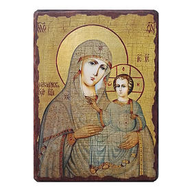 Russian icon Our Lady of Jerusalem, painted and decoupaged 10x7 cm s1