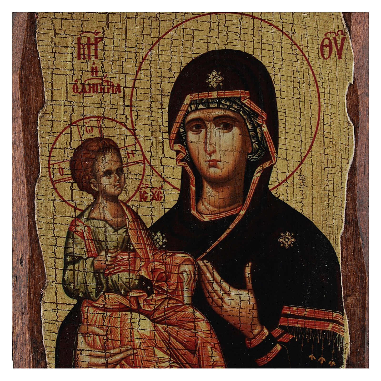 Icono ruso pintado decoupage Virgen de las tres manos 10x7 cm 4