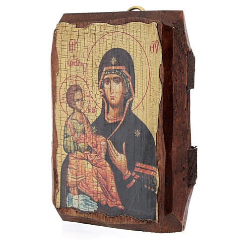 Icono ruso pintado decoupage Virgen de las tres manos 10x7 cm 3