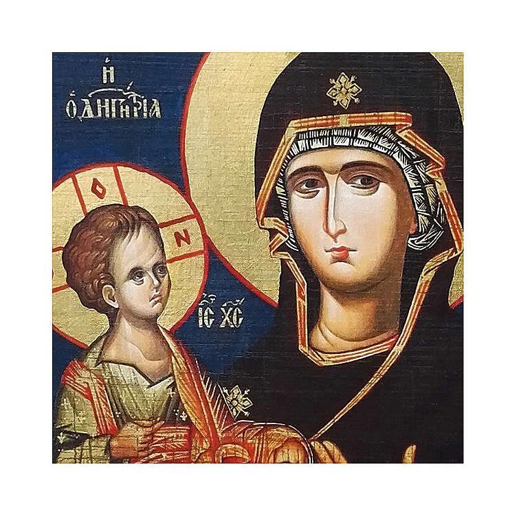Icona russa dipinta découpage Madonna dalle tre mani 10x7 cm 4