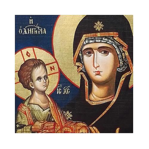 Icona russa dipinta découpage Madonna dalle tre mani 10x7 cm 2