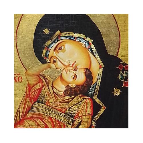 Icono ruso pintado decoupage Virgen Eleousa 10x7 cm 2