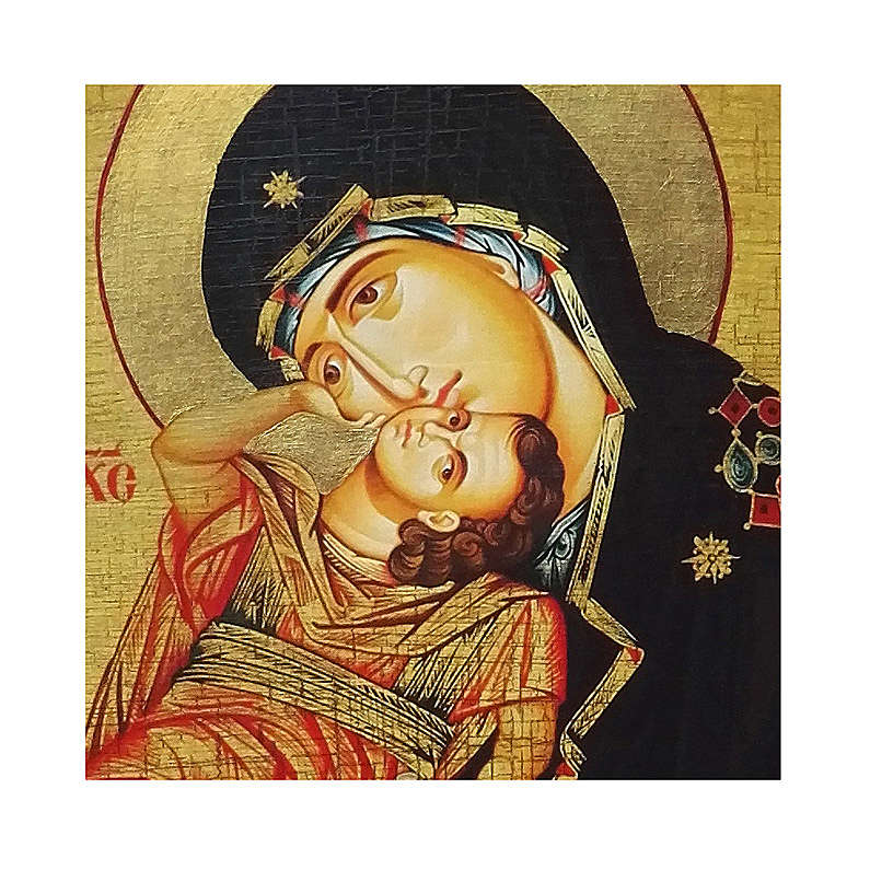 Icona russa dipinta découpage Madonna Eleousa 10x7 cm 4