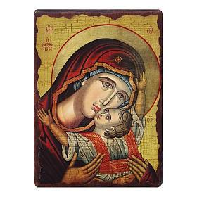 Icônes imprimées sur bois et pierre: Icône russe peinte découpage Vierge Kardiotissa 10x7 cm