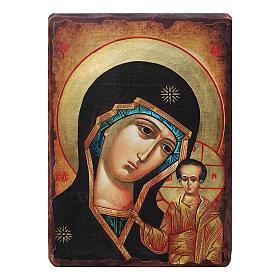 Icônes imprimées sur bois et pierre: Icône russe peinte découpage Vierge Kazanskaya 10x7 cm