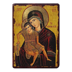 Icons printed on wood and stone: Icon Truly Honourable Mother, painted and decoupaged, Russia 10x7 cm