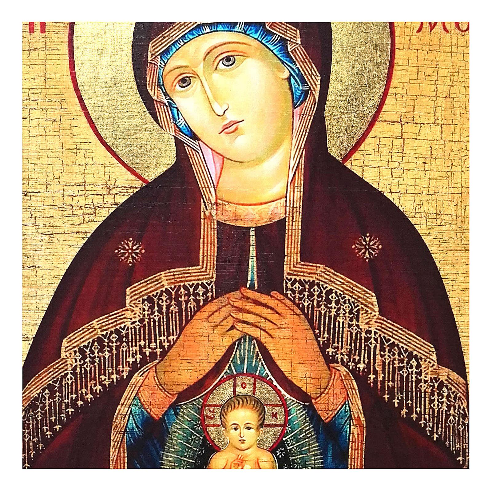Icona russa dipinta découpage Madonna dell'aiuto nel parto 10x7 cm 4