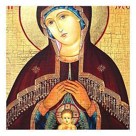 Icona russa dipinta découpage Madonna dell'aiuto nel parto 10x7 cm s2