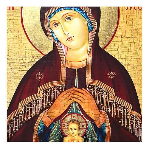Icona russa dipinta découpage Madonna dell'aiuto nel parto 10x7 cm 2