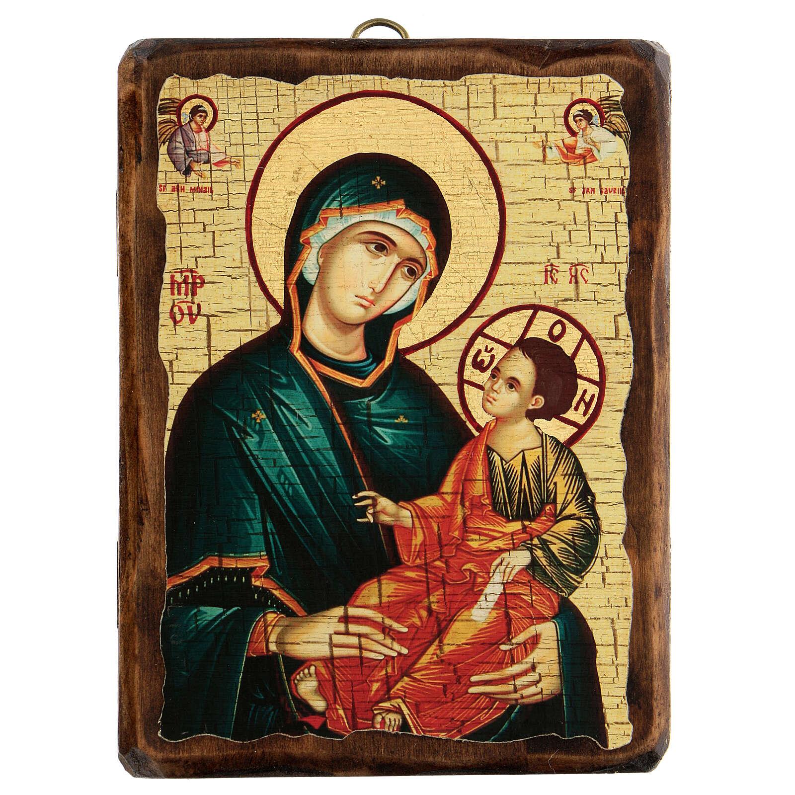 Icona Russia dipinta découpage Madonna Grigorousa 18x14 cm 4