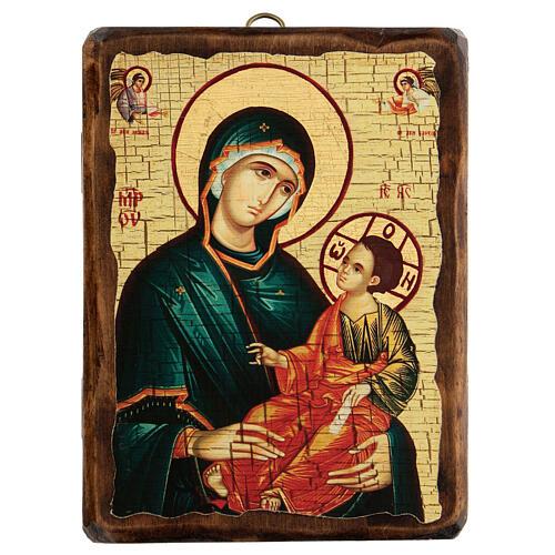 Icona Russia dipinta découpage Madonna Grigorousa 18x14 cm 1