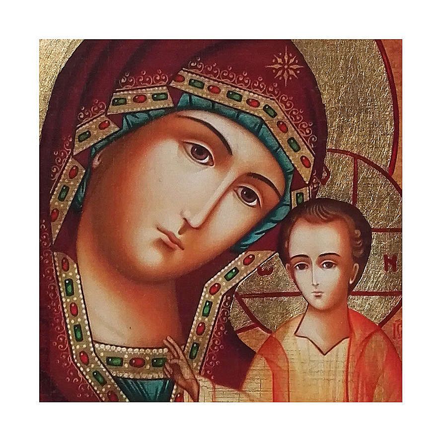Icona russa dipinta découpage Madonna di Kazan 18x14 cm 4
