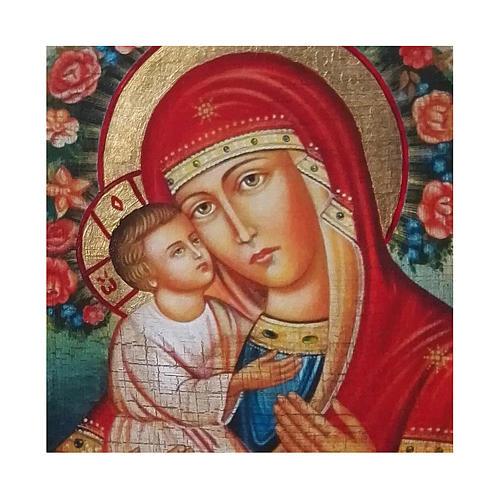 Ícone Rússia Nossa Senhora Zhirovitskaya pintura e decoupáge 18x14 cm 2