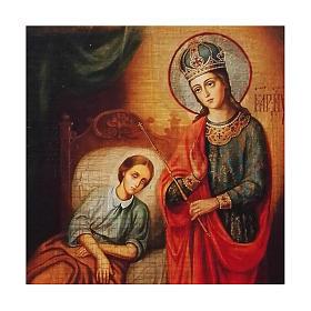 Ícone Rússia Nossa Senhora da Saúde pintura e decoupáge 17x13 cm s2