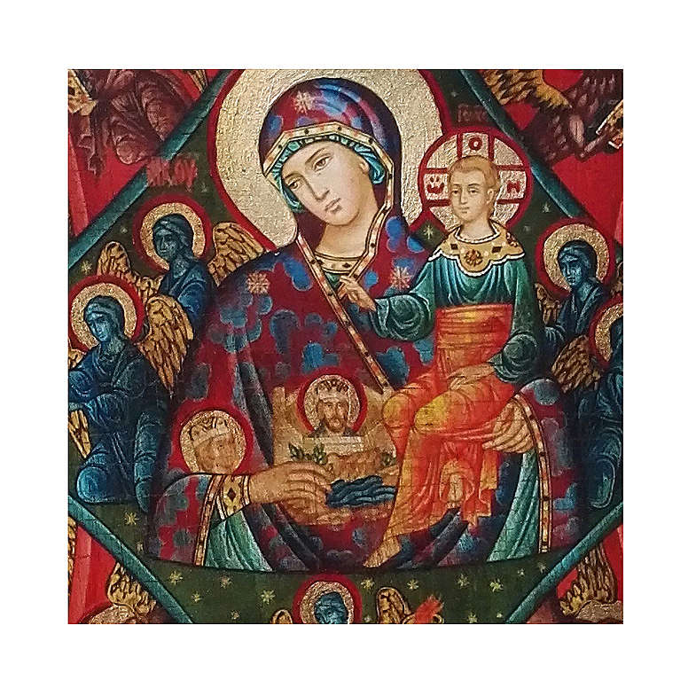 Russian icon Our Lady of the Burning Bush, painted and decoupaged 17x13 cm 4