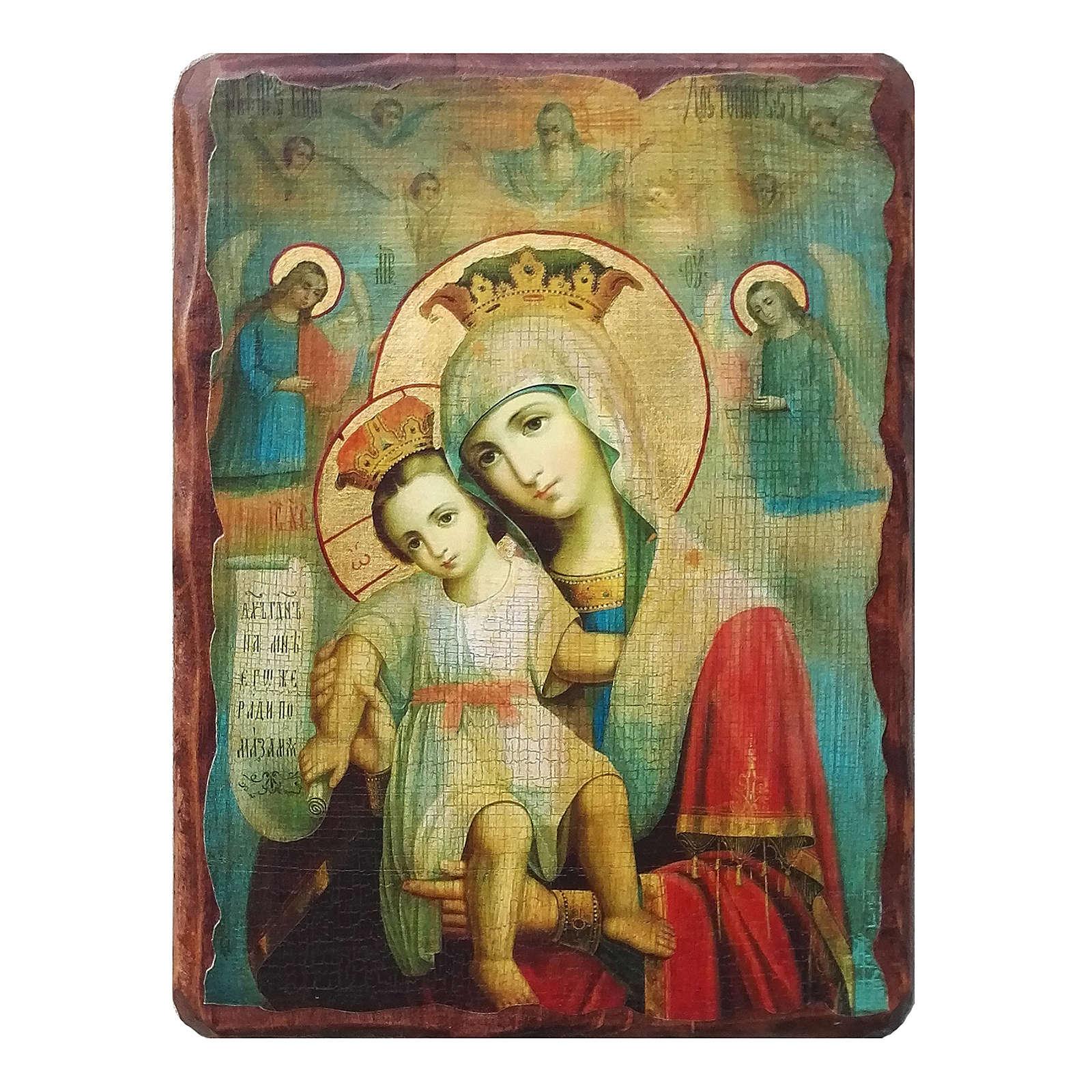 Russische Ikone, Malerei und Découpage, Muttergottes Wahrhaft würdig, 18x14 cm 4