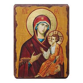 Icônes imprimées sur bois et pierre: Icône russe peinte découpage Hodigitria de Smolensk 18x14 cm