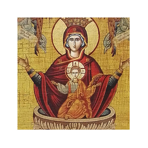Russian icon Our Lady of the Life-giving Fountain, painted and decoupaged 17x13 cm 2
