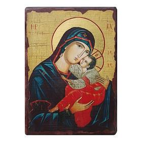 Icônes imprimées sur bois et pierre: Icône russe peinte découpage Mère de Dieu du Doux Baiser 18x14 cm