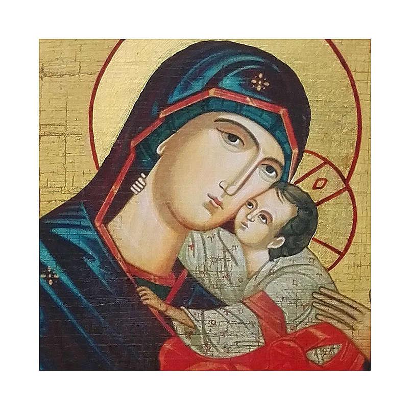 Icona Russia dipinta découpage Madonna del bacio dolce 18x14 cm 4