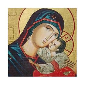 Icona Russia dipinta découpage Madonna del bacio dolce 18x14 cm s2