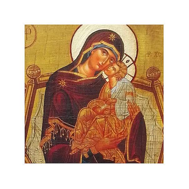 Icona russa della dipinta découpage Madre di Dio Pantanassa 18x14 cm 4