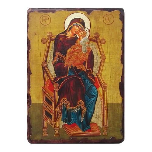 Icona russa della dipinta découpage Madre di Dio Pantanassa 18x14 cm 1