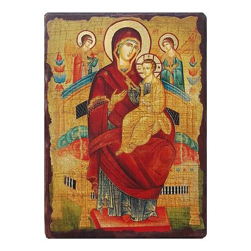Ícone russo pintado com decoupáge Theotokos Pantanassa 18x14 cm 1