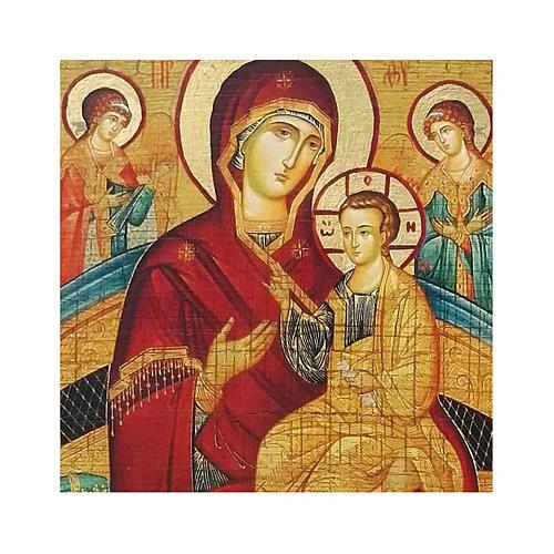 Ícone russo pintado com decoupáge Theotokos Pantanassa 18x14 cm 2