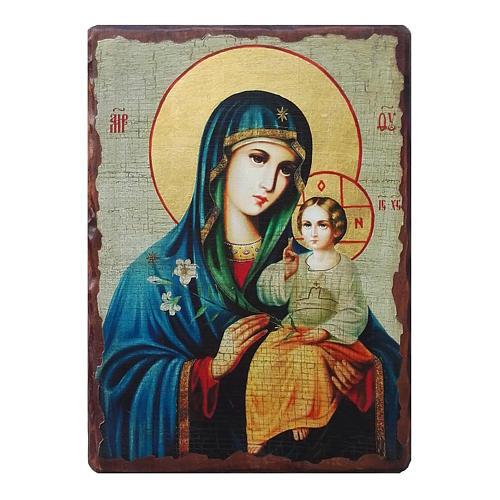 Ícone russo pintado com decoupáge Nossa Senhora do LÍrio Branco 18x14 cm 1