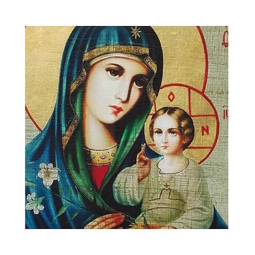 Ícone russo pintado com decoupáge Nossa Senhora do LÍrio Branco 18x14 cm 2