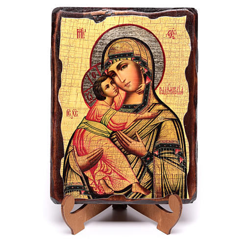 Russian icon Our Lady of Vladimir, painted and decoupaged 17x13 cm 4
