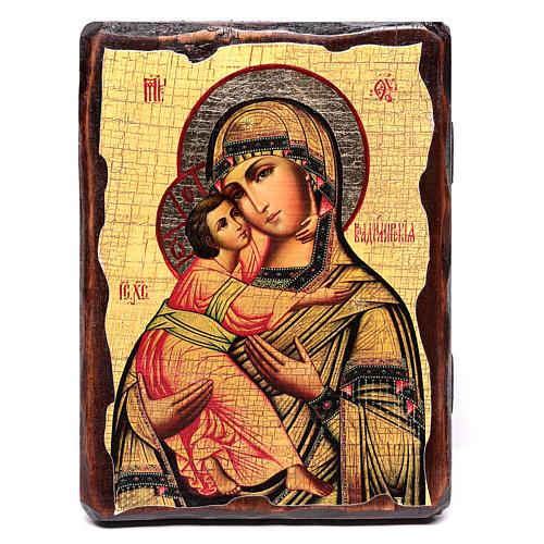 Icône russe peinte découpage Vierge de Vladimir 18x14 cm 1