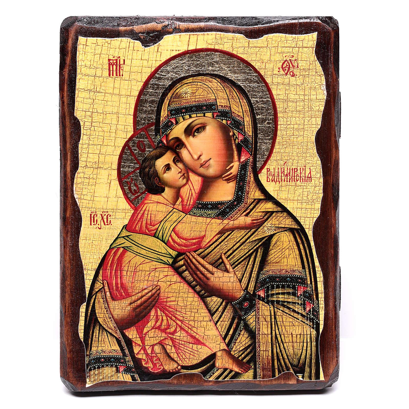 Ícone russo pintado com decoupáge Mãe de Deus de Vladimir 18x14 cm 4