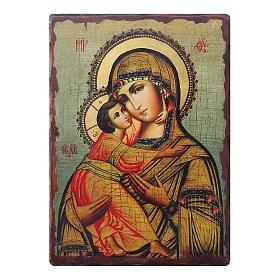 Ícone russo pintado com decoupáge Mãe de Deus de Vladimir 18x14 cm s1