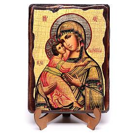 Ícone russo pintado com decoupáge Mãe de Deus de Vladimir 18x14 cm s4