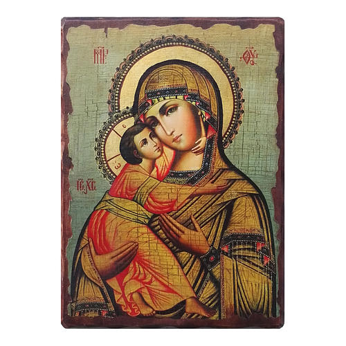 Ícone russo pintado com decoupáge Mãe de Deus de Vladimir 18x14 cm 1