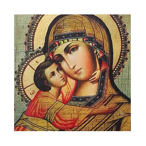 Ícone russo pintado com decoupáge Mãe de Deus de Vladimir 18x14 cm 2