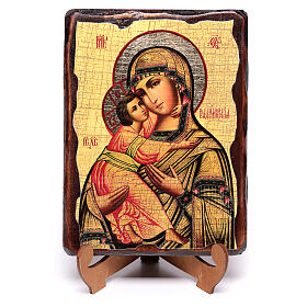 Russian icon painted decoupage, Our Lady of Vladimir 18x14 cm s4