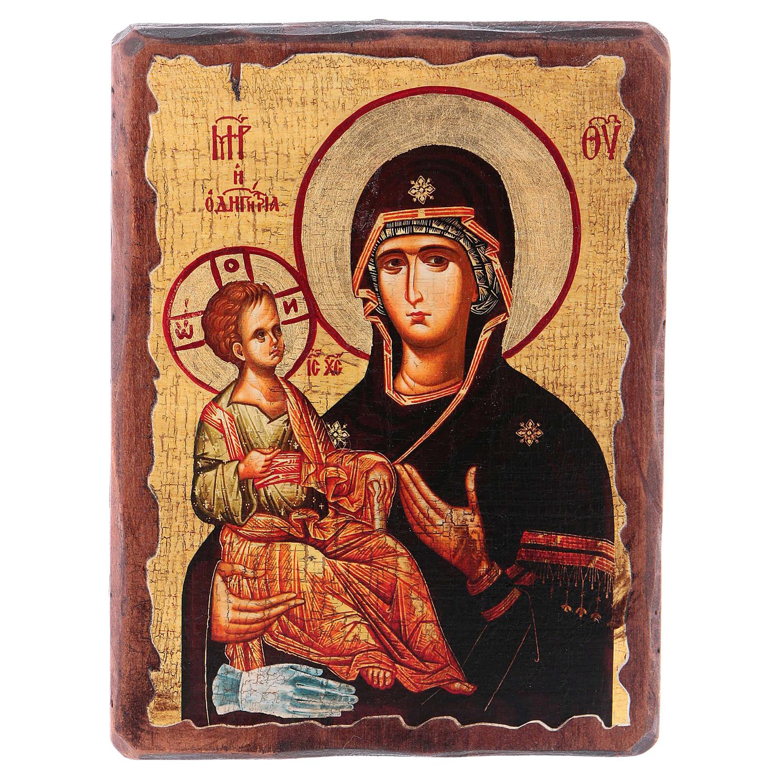 Icona russa dipinta découpage Madonna dalle tre mani 18x14 cm 4