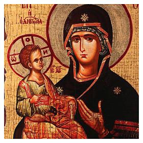 Icona russa dipinta découpage Madonna dalle tre mani 18x14 cm s2