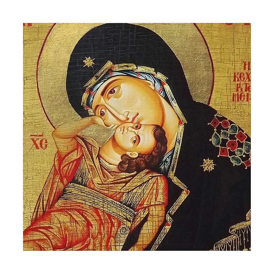 Ícone Rússia pintado com decoupáge Mãe de Deus Eleousa 18x14 cm 4