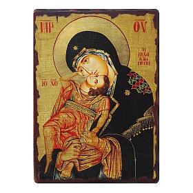 Ícone Rússia pintado com decoupáge Mãe de Deus Eleousa 18x14 cm s1