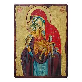Icônes imprimées sur bois et pierre: Icône russe peinte découpage Vierge Kykkotissa 18x14 cm