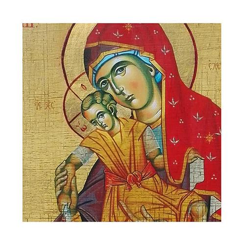 Icona russa dipinta découpage Madonna Kikkotissa 18x14 cm 2