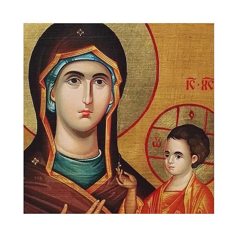 Icona Russia dipinta découpage Madonna Odigitria 18x14 cm 4