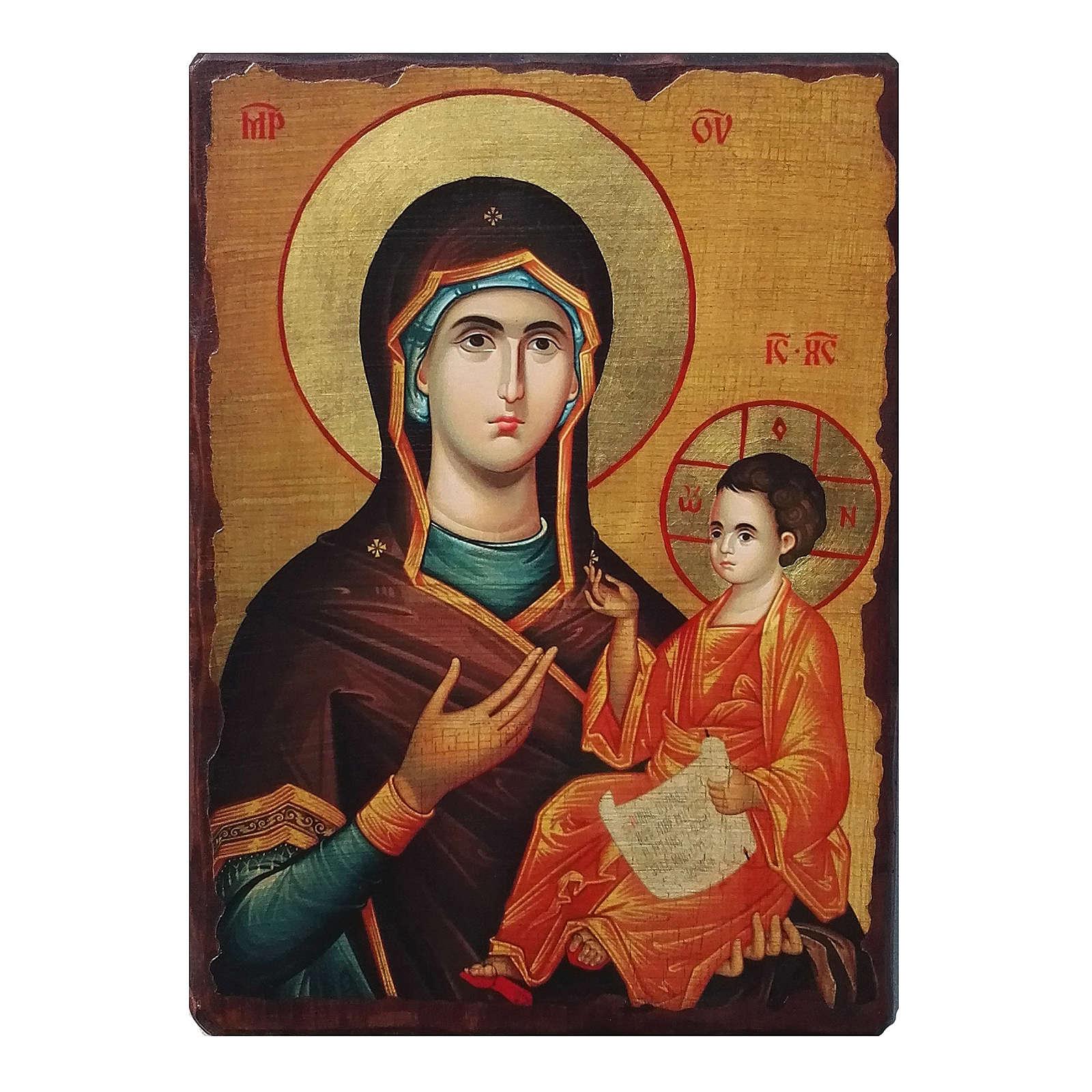 Ícone Rússia pintado com decoupáge Mãe de Deus Guia 18x14 cm 4